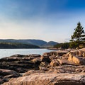 Champlain Mountain seen from across Newport Cove, Acadia National Park.- Champlain Mountain via South Ridge Trail