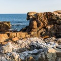 Rugged granite formations on Otter Point, Acadia National Park.- Otter Point + Otter Cliffs