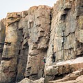 Contributor Ben Dlin rappelling the Wonderwall on Otter Cliffs, Acadia National Park.- Otter Point + Otter Cliffs