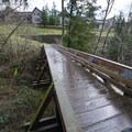North Johnson Creek Trail footbridge and turn-around spot in Merrit Orchard Park.- North Johnson Creek Trail