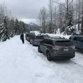 Parking for Gold Creek Sno-Park.- Gold Creek Sno-Park Sledding