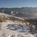 Mount Aire (8,621 ft) and Little Dell Reservoir.- Little Mountain Snowshoe