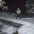 Small bridge over the creek.- Donut Falls Snowshoe