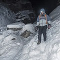 Finding a safe route down.- Donut Falls Snowshoe