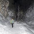 Returning down canyon.- Donut Falls Snowshoe