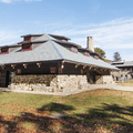 Bear Mountain State Park administration building with public restrooms.- Anthony's Nose