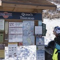 Trail map and grooming report at Quinn's Trailhead.- Round Valley Trails, Quinn's Trailhead