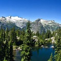 View of Tuck Lake and Mount Daniel.- Tuck + Robin Lakes