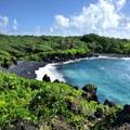 Pa'iloa Beach, a lovely black sand beach at the park.- Wai'ānapanapa State Park