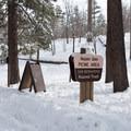 Entrance marker for Aspen Glen Picnic Area.- Aspen Glen Picnic Area Sledding