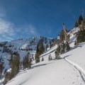 Heading toward Petes Point and Jewett Lake.- Aneroid Lake Ski Tour