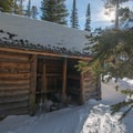 A three-sided shelter that is available for public use.- Aneroid Lake Ski Tour