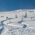 The Wallowas are known for their dry and light snow.- Wing Ridge