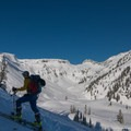 The Mount Baker Ski Area cat track provides an easy uphill track to Table Mountain.- Table Mountain