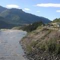Looking North toward Nenana Canyon parking and rest area.- Nenana Canyon Rest Area