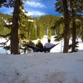 Hammocking at the second lake.- Kendall Peak Lakes Snowshoe
