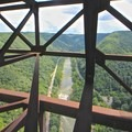 Aerial view of the Lower New River.- Lower New River Gorge: Cunard to Fayette Station