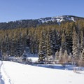 View of Upper Mount Ellis, a destination for downhill skiers and snowboarders- New World Gulch