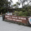 The entrance to the Jaggar Museum in Hawai'i Volcanoes National Park.- Jaggar Museum + Overlook
