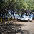 The day use parking area near the campsites.- Kīholo State Park Reserve
