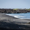 The black sand and pebble beach adjacent to the campsites.- Kīholo State Park Reserve Campground