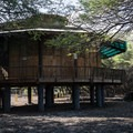 The structure near the day use parking area for the beach.- Kīholo State Park Reserve Campground