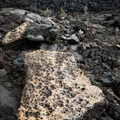 Sulfurous deposits on chunks of lava in the crater.- Kīlauea Iki Trail