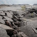 Collapses in the lake's crust account for long fissures like this.- Kīlauea Iki Trail