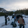 Gearing up at the summertime trailhead.- McCully Basin Ski Tour