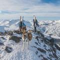 Summit photo on Aneroid Peak.- McCully Basin Ski Tour
