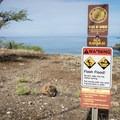 The flash flood warning applies to a wash that is crossed if you walk to Spencer Beach Park from Mau'umae Beach.- Mau'umae Beach