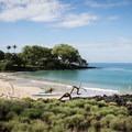 Mau'umae Beach is well protected.- Mau'umae Beach