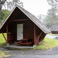 A typical cabin at Nāmakanipaio Campground.- Nāmakanipaio Campground + Cabins