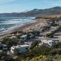 Jalama Beach Campground from the access road.- Jalama Beach Campground
