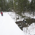 NF-3062 bridge crossing over Ninemile Creek.- Falls Creek Falls Snowshoe
