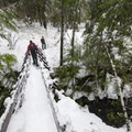 Small suspension bridge crossing over Falls Creek gorge.- Falls Creek Falls Snowshoe