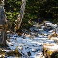 Just before Lower Wolf Jaw in early winter. Sections of the trail that are exposed to the wind and sun typically have less snow.- The Wolf Jaws