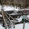Bridge over the Lower Ausable Lake.- Sawteeth Mountain
