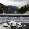 Dam on Lower Ausable Lake.- Sawteeth Mountain