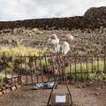 Entrance to Pu'ukoholā Heiau is prohibited; here the crossed sticks symbolize the kapu, or taboo, area.- Pu'ukoholā Heiau National Historic Site