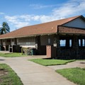 The picnic shelter and restrooms at the south end of Spencer Beach Park.- Samuel M. Spencer Beach Park