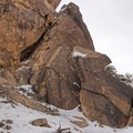 The middle section across from the cave.- Parowan Gap Petroglyphs