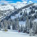 Skinning up to Commissary Ridge.- Commissary Ridge Yurt Backcountry Skiing