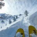 The skin track back up to the ridge.- Commissary Ridge Yurt Backcountry Skiing
