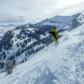 Dropping into a nice line off of Commissary Ridge.- Commissary Ridge Yurt Backcountry Skiing