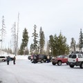 Parking area at the Santiam Sno-Park.- Santiam Sno-Park