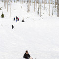 Santiam Sno-Park sledding hill.- Santiam Sno-Park