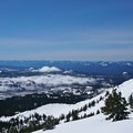 The direction of the ski descent directly south off of the ridge.- Three Fingered Jack Backcountry Ski: South Ridge