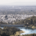 The Hollywood Reservoir and Los Angeles suburbs.- Hollywood Sign via Lake Hollywood Drive