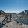 First views of Prusik Peak from upper Enchantments.- Prusik Peak: West Ridge